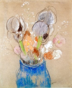 Odilon Redon - Bouquet of Flowers, Irises