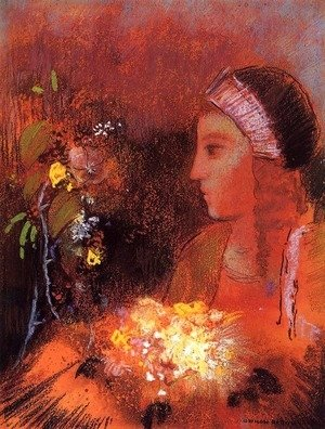 Odilon Redon - Woman with Flowers 2