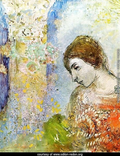 Woman with Pillar of Flowers