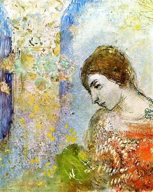Odilon Redon - Woman with Pillar of Flowers