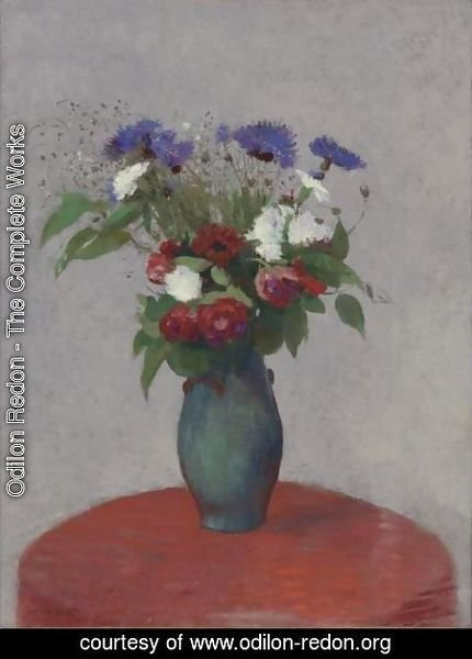 odilon redon the complete works vase de fleurs sur une nappe rouge odilon. Black Bedroom Furniture Sets. Home Design Ideas