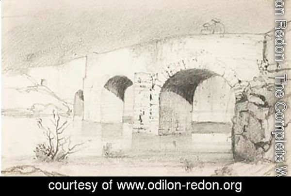 Study of a bridge with figures