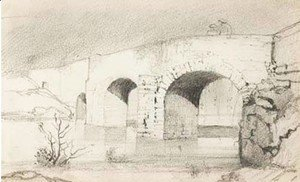 Odilon Redon - Study of a bridge with figures