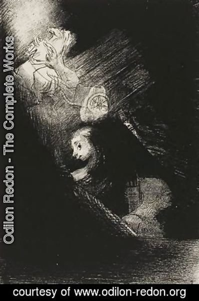 Odilon Redon - First a pool of water, then a prostitute, the corner of a temple, a soldier's face, a chariot with two rearing white horses