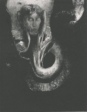 Odilon Redon - Oannes I, the first consciousness of chaos, arose from the abyss that I might harden matter, and give law unto forms (plate 14)
