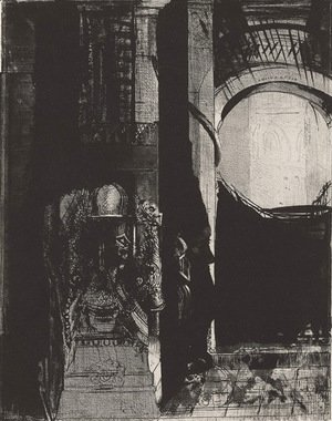 Odilon Redon - And on every side are columns of basalt, ... the light falls from the vaulted roof (plate 3)