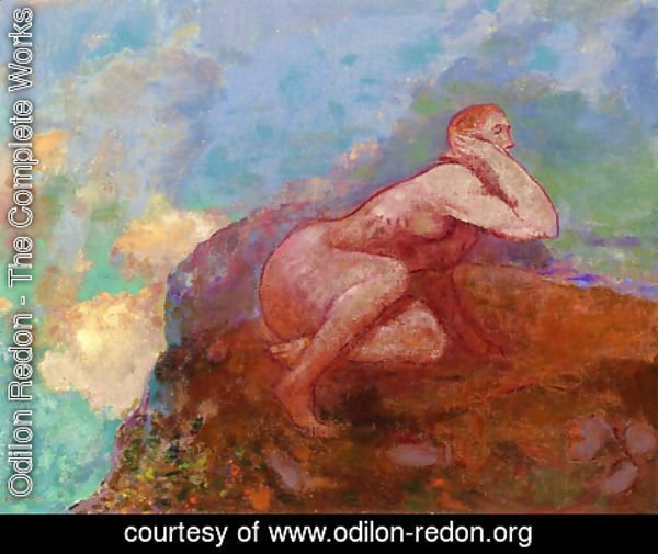 Odilon Redon - Nude Woman on the Rocks