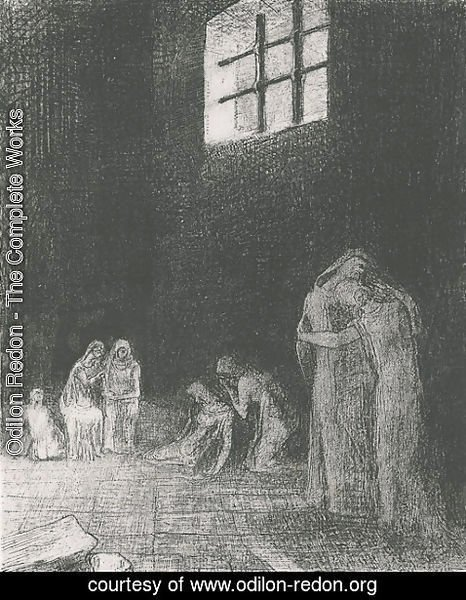 Odilon Redon - In the shadow people are weeping and praying, surrounded by others who are exhorting them (plate 6)