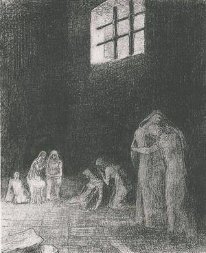 In the shadow people are weeping and praying, surrounded by others who are exhorting them (plate 6)