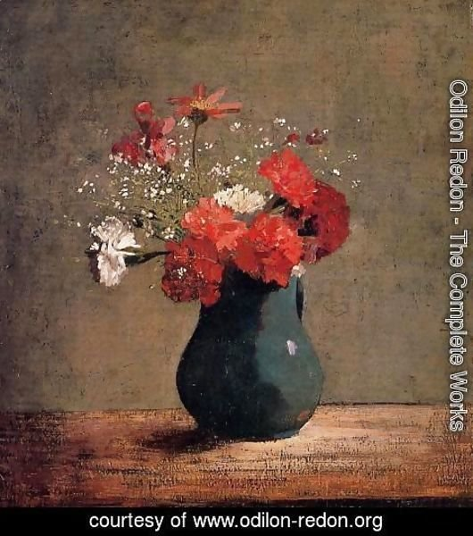 Odilon Redon - Carnations and baby's breath in a green pitcher