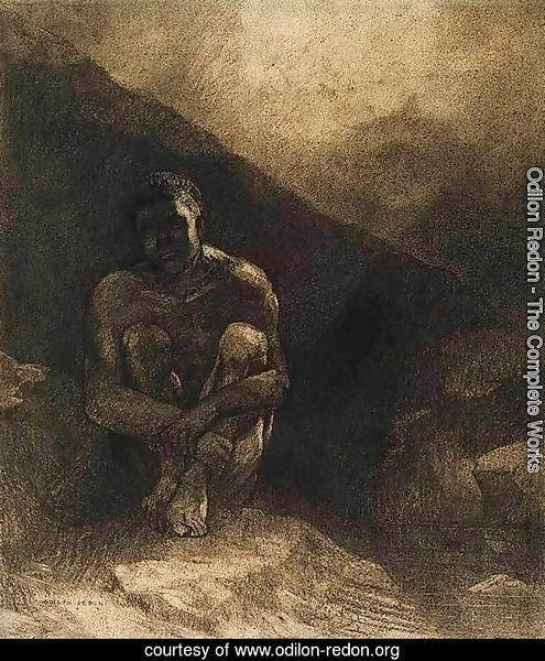 Primitive Man Seated in Shadow