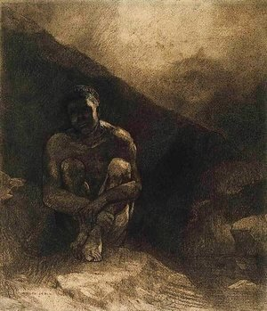 Odilon Redon - Primitive Man Seated in Shadow