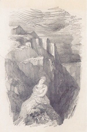 Odilon Redon - Woman and the mountain landscape