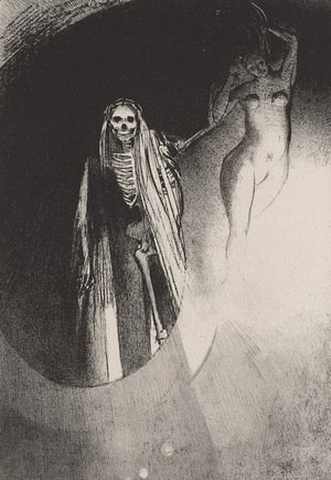 Odilon Redon - Death It is I who makes you serious; let us embrace each other (plate 20)