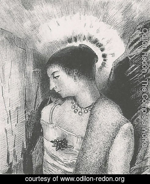 Odilon Redon - Here is the Good Goddess, the Idaean mother of the mountains (plate 15)