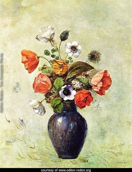 Anemones And Poppies In A Vase