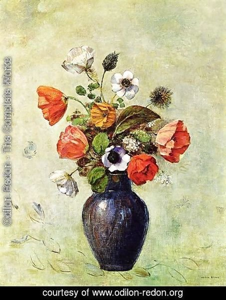 Odilon Redon The Complete Works Anemones And Poppies In A Vase
