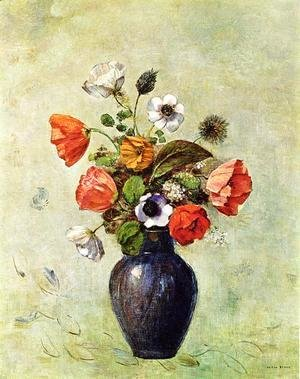 Odilon Redon - Anemones And Poppies In A Vase
