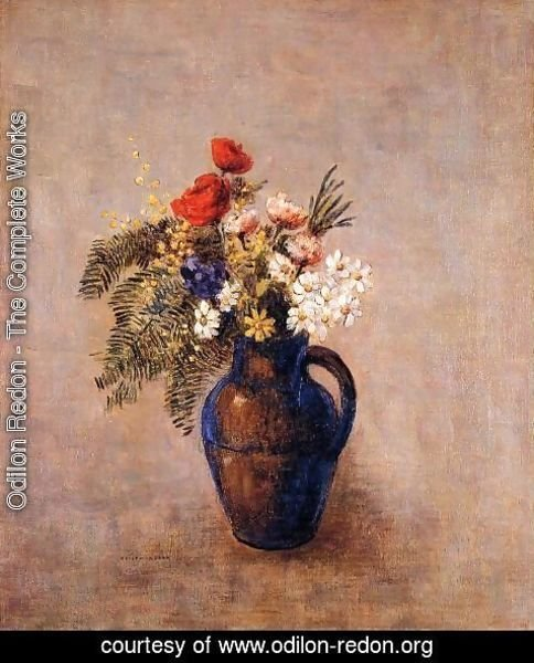 Odilon Redon - Bouquet Of Flowers In A Blue Vase3