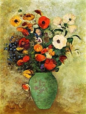 Odilon Redon - Bouquet Of Flowers In A Green Vase