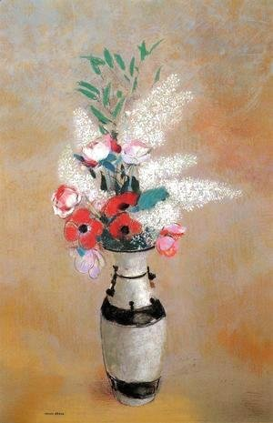 Odilon Redon - Bouquet With White Lilies In A Japanese Vase