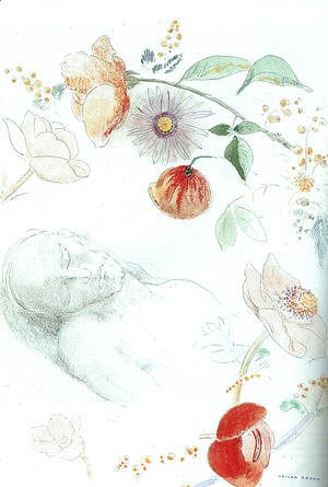 Bust Of A Man Asleep Amid Flowers