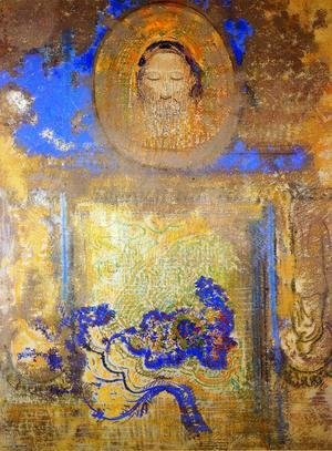 Odilon Redon - Evocation Aka Head Of Christ Or Inspiration From A Mosaic In Revenna