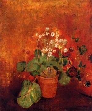 Odilon Redon - Flowers In A Port On A Red Background