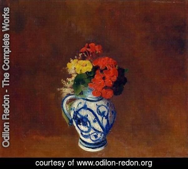 Odilon Redon - Flowers In A Vase With Blue Decoration