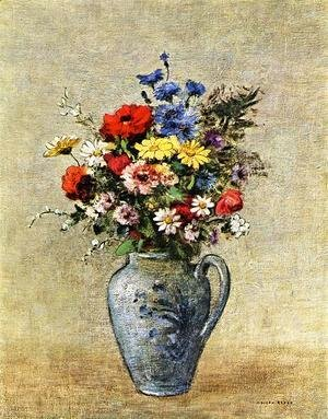 Flowers In A Vase With One Handle