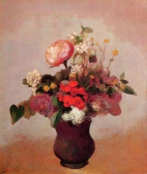 Odilon Redon - Flowers In Aa Brown Vase