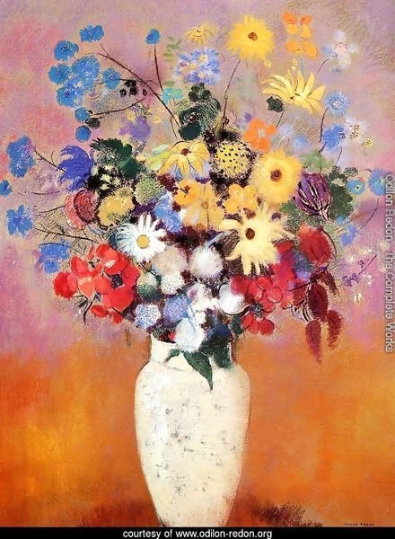 Large Bouquet In A Japanese Vase
