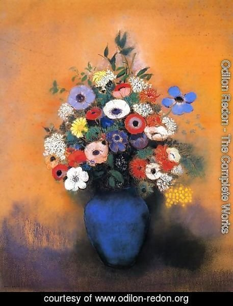 Odilon Redon - Minosas  Anemonies And Leaves In A Blue Vase