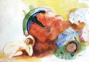 Odilon Redon - Nude  Begonia And Heads