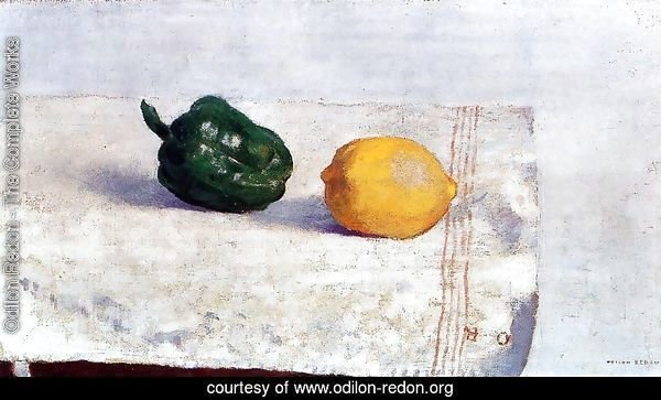 Pepper And Lemon On A White Tablecloth