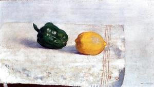 Odilon Redon - Pepper And Lemon On A White Tablecloth