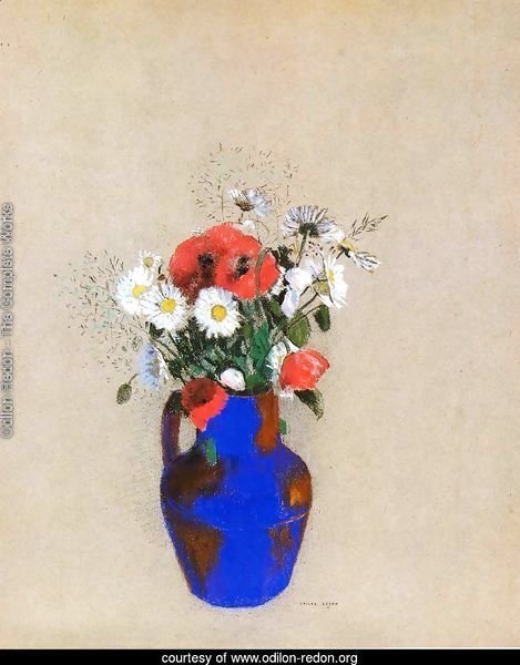 Poppies And Daisies In A Blue Vase