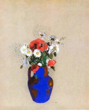 Odilon Redon - Poppies And Daisies In A Blue Vase