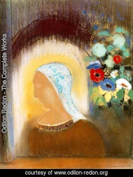 Odilon Redon - Profile And Flowers