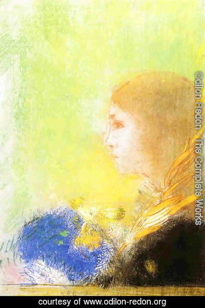 Odilon Redon - Profile Of A Young Girl
