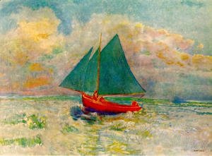 Odilon Redon - Red Boat with a Blue Sail 1906-07