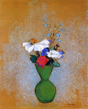 Odilon Redon - Rose  Peony And Cornflowers In A Green Vase