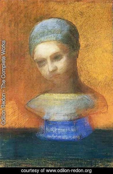 Odilon Redon - Small Bust Of A Young Girl