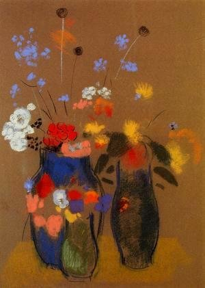 Odilon Redon - Three Vases Of Flowers