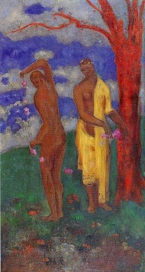 Odilon Redon - Two Women Under A Red Tree