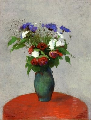 Vase Of Flowers On A Red Tablecloth