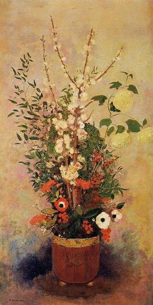 Odilon Redon - Vase Of Flowers With Branches Of A Flowering Apple Tree