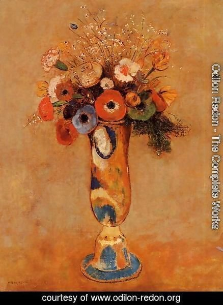 Odilon Redon - Wildflowers In A Long Necked Vase